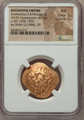 Ancients:Byzantine, Ancients: Andronicus II Palaeologus and Michael IX (AD 1294-1320).AV/EL hyperpyron (26mm, 4.17 gm, 5h). NGC AU 2/5 - 5/5....