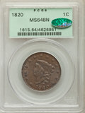 Large Cents, 1820 1C Large Date, N-13, R.1, MS64 Brown PCGS. CAC....