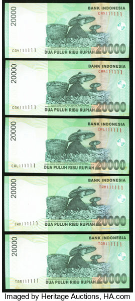 Solid Serial Number 111111 Indonesia Bank Indonesia 20,000