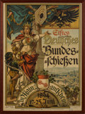 Arms Accessories:Flasks, Schützenfest: Mainz von Rhein 11th German Bundesschiessen Poster, 1894....