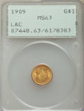 Commemorative Gold, 1905 G$1 Lewis and Clark Gold Dollar MS63 PCGS....