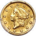 Gold Dollars, 1849-D G$1 AU55 PCGS Secure. CAC. Variety 1-A,...