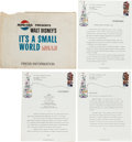 """Memorabilia:Disney, """"It's a Small World"""" Press Release Kit and Related Items Group (Walt Disney, 1964).... (Total: 7 Items)"""