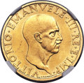 Italy:Kingdom, Italy: Vittorio Emanuele III gold 100 Lire 1936-R Anno XIV MS65 NGC,...