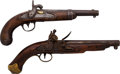 Handguns:Muzzle loading, Lot of Two, Flintlock and Percussion Pistol.... (Total: 2 Items)