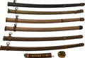Edged Weapons:Swords, Lot of Six WWII Japanese Military Metal Sword Scabbards.... (Total: 6 Items)