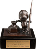 "Memorabilia:Miscellaneous, Charles M. Schulz ""Sparky Award"" Presented to Carl Barks (Cartoon Art Museum, 1999)...."