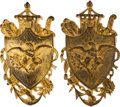 Antiques:Decorative Americana, Federal Period Army & Navy Gilt Wall Plaques....