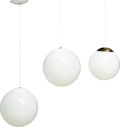 Decorative Arts, Continental:Lamps & Lighting, Three American Globe Pendant Lights, mid-20th century. 11 inches(27.9 cm) (diameter, larger). ... (Total: 3 Items)