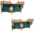 Decorative Arts, Continental:Other , A Pair of Art Nouveau Glazed Ceramic, Gilt Bronze and Mahogany WallBrackets, circa 1910. Marks: 623. 8-3/4 x 15-7/8 x 4...(Total: 2 Items)