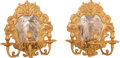 Lighting:Sconces, A Pair of Gilt Bronze and Silvered Metal Shield-Form Three-Light Sconces, 20th century. 15-1/4 x 14 x 9-1/2 inches (38.7 x 3... (Total: 2 Items)