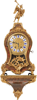 A French Louis XV-Style Gilt Bronze, Brass-Inlaid, and Faux-Boulle Figural Bracket Clock, 19th century Marks to mo