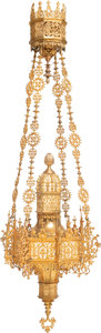 Decorative Arts, Continental:Lamps & Lighting, A Large Gothic Revival Gilt Bronze Hanging Lantern, early 20thcentury and later. 72 inches (182.9 cm) (overall). ...