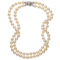 Estate Jewelry:Necklaces, Diamond, Cultured Pearl, White Gold Necklace. ...