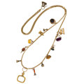 Estate Jewelry:Necklaces, Multi-Stone, Glass, Gold, Yellow Metal, White Metal, Necklace . ...