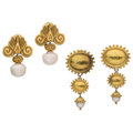 Estate Jewelry:Earrings, Cultured Pearl, Gold Earrings . ... (Total: 2 Items)