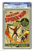 Silver Age (1956-1969):Superhero, The Amazing Spider-Man #1 (Marvel, 1963) CGC VG+ 4.5 Off-white to white pages. Spider-Man's origin is retold. First Fantasti...