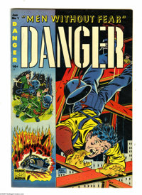 Danger #1 (Comic Media, 1953) Condition: VF/NM. Featured on this cover are three panels of action-packed danger, drawn b...