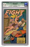 Golden Age (1938-1955):Adventure, Fight Comics #51 (Fiction House, 1947) CGC Qualified FN/VF 7.0 Cream to off-white pages. Origin of Tiger Girl. Bondage cover...
