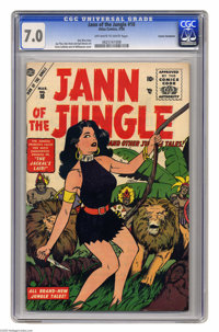 Jann of the Jungle #10 Cosmic Aeroplane pedigree (Atlas, 1956) CGC FN/VF. With the Lion and the tribesman, Jann has her...