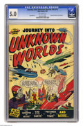 Golden Age (1938-1955):Science Fiction, Journey Into Unknown Worlds #36 (#1) (Atlas, 1950) CGC VG/FN 5.0Off-white pages. The Venusians and the Martians are at war ...