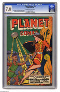 Golden Age (1938-1955):Science Fiction, Planet Comics #59 (Fiction House, 1949) CGC FN/VF 7.0 Cream tooff-white pages. Matt Baker, George Evans, Graham Ingels, Leo...