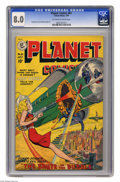 Golden Age (1938-1955):Science Fiction, Planet Comics #61 (Fiction House, 1949) CGC VF 8.0 Off-white towhite pages. A beautiful lady shows her expertise with a las...