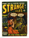 Golden Age (1938-1955):Horror, Strange Tales #8 (Marvel, 1952) Condition: GD-. Bill Everett cover. Gene Colan art. Overstreet 2005 GD 2.0 value = $56....