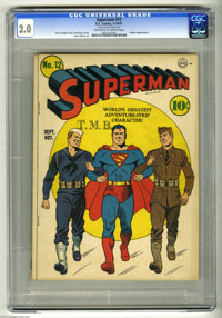 Superman #12 (DC, 1941) CGC GD 2.0 Off-white to white pages. Lex Luthor appearance. Fred Ray cover. Henry Boltinoff, Ray...