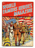 Golden Age (1938-1955):Non-Fiction, World Famous Heroes Magazine #1 (Centaur, 1941) Condition: VG.Patriotic flag cover by Paul Gustavson. Bob Lubbers and Sam G...