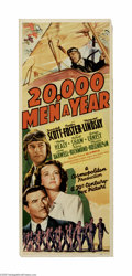 """Movie Posters:Action, 20,000 Men a Year (20th Century Fox, 1939) Insert (14"""" X 36""""). Thisis a vintage, theater used poster for this aviation acti..."""