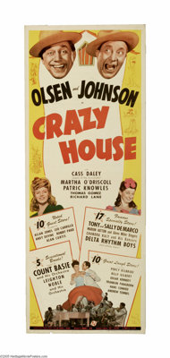 "Crazy House (Universal, 1943) Insert (14"" X 36""). This is a vintage, theater used poster for this musical come..."