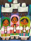 "Animation Art:Production Drawing, Mary Blair ""Children's Chorus"" Painting Original Art (c. 1970s)...."
