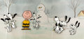 """Animation Art:Production Cel, Peanuts - The Charlie Brown and Snoopy Show """"Happy Dance""""Snoopy and Charlie Brown Production Cel Sequence of 7 with P...(Total: 8 )"""