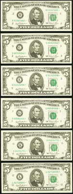 Fr. 1976-B*; C*; E*; G*; K*; L* $5 1981 Federal Reserve Star Notes. Extremely Fine-About Uncirculated or Better
