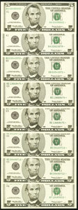 Fr. 1986-E* $5 1999 Federal Reserve Star Notes. Two Consecutive Examples. Choice Crisp Uncirculated; Fr. 1987-A