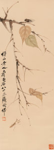 Asian:Chinese, Attributed to Qi Baishi (Chinese, 1864-1957). Cicada and Praying Mantis on Leaves. Ink on paper. 38-1/2 x 13-1/2 inches ...