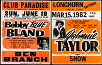 """Bobby """"Blue"""" Bland & Other Lot (1970s). Jumbo Window Cards (2) (22"""" X 28""""). Musical. ... (To..."""