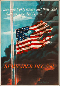 "World War II Propaganda (U.S. Government Printing Office, 1942). OWI Poster No. 14 (28"" X 40"") ""Remember..."