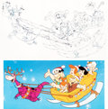 Animation Art:Concept Art, The Flintstones Christmas Card Concept Art by Willie Ito(Hanna-Barbera, 1984).... (Total: 3 Items)