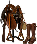 Long Guns:Single Shot, McClellan U.S. Springfield Model 1884 Trapdoor Saddle Ring Carbine,Leather Saddle and Boots.... (Total: 3 Items)