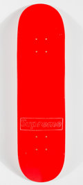 Prints & Multiples, Supreme X KAWS. Stencil Box Logo (Red), 2011. Offset lithograph in colors on skate deck. 32 x 8 inches (81.3 x 20.3 cm)...