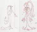 Animation Art:Concept Art, The Emperor's New Groove Yzma Character Development DrawingsGroup of 2 (Walt Disney, 2000).... (Total: 2 )
