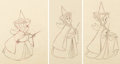 Animation Art:Production Drawing, Sleeping Beauty Fauna, Flora, and Merryweather Animation Drawings Group of 3 (Walt Disney, 1959).... (Total: 3 Items)