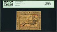 Continental Currency February 17, 1776 $2 PCGS Choice New 63PPQ