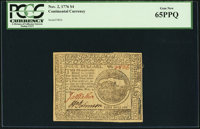 Continental Currency November 2, 1776 $4 PCGS Gem New 65PPQ