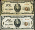 National Bank Notes:California, Los Angeles, CA - $20 1929 Ty. 1 Security-First NB Ch. # 2491;. Los Angeles, CA - $20 1929 Ty. 2 Security-First NB... (Total: 2 notes)