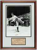 Autographs:Checks, 1948 Lefty Grove Signed Check & Oversized Photograph Framed Display....