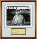 Autographs:Checks, 1971 Harry Hooper Signed Check & Oversized Photograph Framed Display - HOF Induction Year....