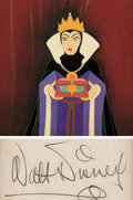 Animation Art:Production Cel, Snow White and the Seven Dwarfs Evil Queen Production Celwith Custom Background and Walt Disney Signature (Walt Disne...